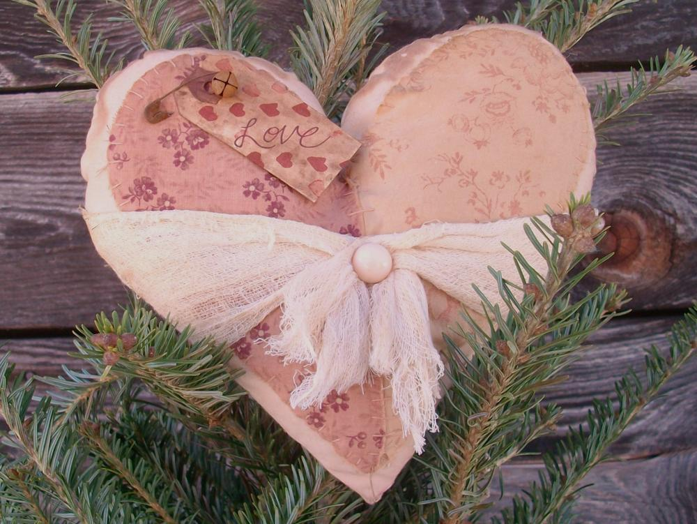 Primitive Romantic Heart Pillow or Cushion- Pink Fabric Appliques and Cheesecloth Wrap