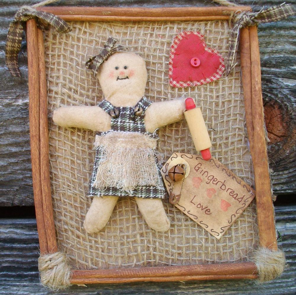 Rustic Primitive Gingerbread Girl with Rolling Pin and Heart - Cinnamon Stick Framed Kitchen Wall Hanging