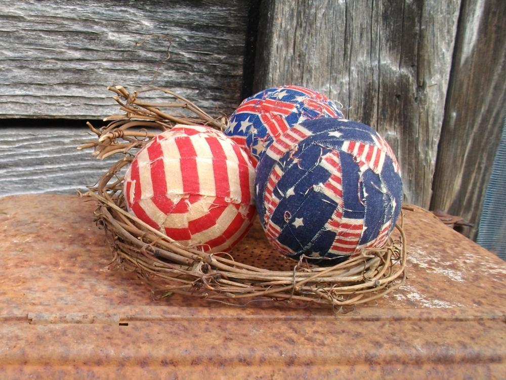 Primitive Americana Rag Balls - Rustic Country Bowl Fillers - Home Decor
