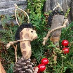 Primitive Grungy Stick Horse Christmas Ornaments